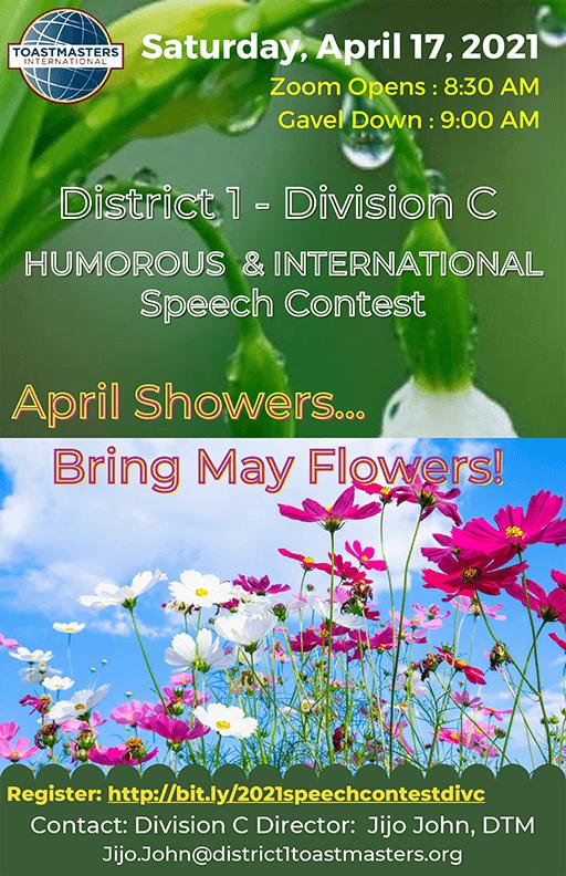 District 1 Division C Speech Contests 2021 flyer
